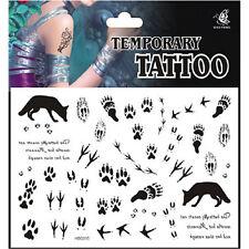 Cool Forest Animal Wolf Bear Bird Swan Footprints on Snow Temporary Tattoo~K32