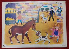 Affiche scolaire bel état ! Fernand Nathan 1965 A2 A la ferme