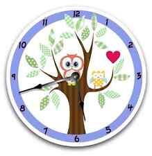 Wall Clock MOD OWL Nursery Art Baby Toddler Girl Custom Room Decor_FT