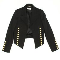 Saint Laurent - 2014 Cropped Band Jacket - Black w/ Gold Buttons - US 2 - 34