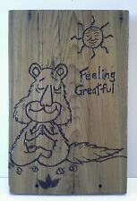 Meditating Greatful Squirrel Wood Wall Plaque With Hanger Original Art Recycled