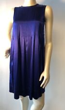 Vince Pleated solid violet blue Stretch Satin Shift Dress Sz 2 Bin-J