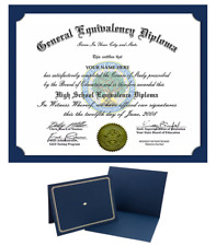 Diploma GED HIGH SCHOOL Personalized Novelty Diplomas With FREE Diploma Holder