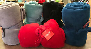 1 PERSONALIZED PLUSH THROW ASST COLORS 100% POLYESTER SEAFOAM RED BLACK GRAY BLU