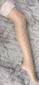 Cream Ivory Fishnet Stocking Lace Top Hold Up Silicone Large Hole Wedding Z2