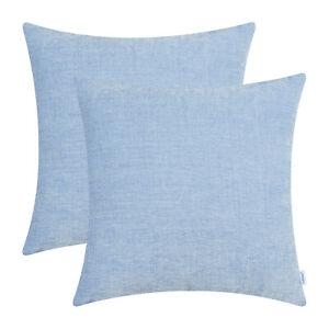 2Pcs Baby Blue Dyed Soft Chenille Cushion Covers Shells Home Sofa Decor 50x50cm
