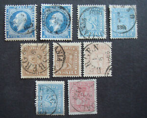 Norway 1856-67 used selection Incl.Sg7,21,17,18,27,29