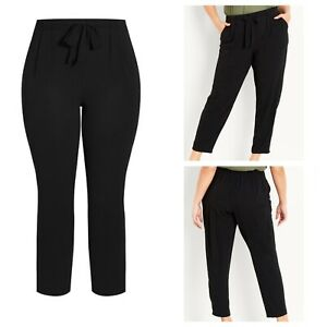 Ladies Black Trousers Size 22 EVANS Pockets Elasticated Back Waist Ties NEW NWT
