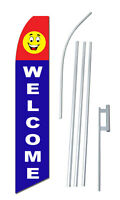 Complete 15' Welcome Kit Swooper Feather Flutter Banner Sign Flag