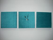 SET OF 3 MODERN ART FAUX SUEDE TEAL JADE GREEN AQUA BLUE WALL HANGINGS & CLOCK