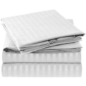 Mellanni 4-Piece Bed Sheet Set STRIPED - Deep Pockets, Wrinkle Resistant