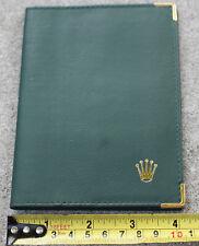 Rolex Green Gold Tone Metal Trim Bifold Wallet Passport Card Holder 68.08.34