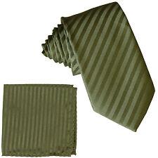 "New Men's Poly 2.5"" slim necktie & hankie set tone on tone stripe Olive Green"