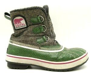 Sorel Green Snakeskin Print Leather Waterproof Lace Up Winter Boots Women's 6.5