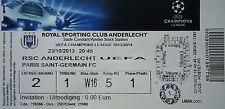 TICKET UEFA CL 2013/14 RSC Anderlecht - Paris SG