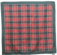 "TERRIART Deep Green, Red, Navy Plaid 30"" Square Scarf-Vintage TIE RACK"