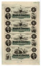 (Uncut Sheet) 1800's The Bank of America - Providence, Rhode Island Notes Cu