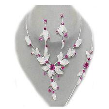 Glitzy Glamour magneta pink crystal silver mesh neclace bracelet earring set 272
