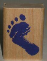 """Inkadinkado Rubber Stamp Foot Print Wood Mount 1.5"""" X 2"""""""