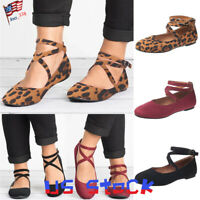 Women Casual Flat Shoes Buckle Stappy Leopard Print Comfy Sandals Ballerinas US