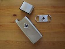 Stainless Steel Cigar Case W Flask Dual Blade Cigar Cutter NEW Freemason Mason