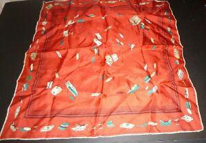 Vintage Hand Rolled POCKET SQUARE Handkerchief Poker Smoking theme Camel