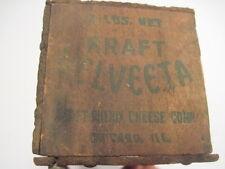 1-F OLD VINTAGE WOOD-WOODEN KRAFT VALVEETA PROCESS CHEESE DAIRY BOX CRATE