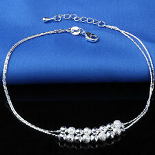 Women Fashion Dainty 925 Sterling Silver Beads Chain Bangle Ankle Wrist Bracelet