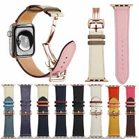 Genuine Leather Band Deployment Rose Gold Buckle Strap for Apple Watch 4/3/2/1