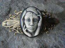 ZOMBIE TATTOO WOMAN HAND PAINTED CAMEO ANTIQUED BRONZE FILIGREE BARRETTE, SKULL