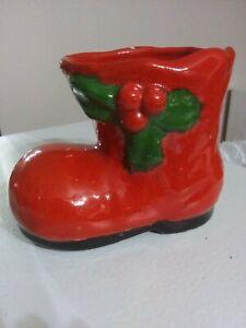Vintage Ceramic Santa Boot 4.5x3.5x3