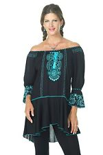 Women's Tunic Top Blouse Black Turquoise Krista Lee Tranquil Embroidery Beaded
