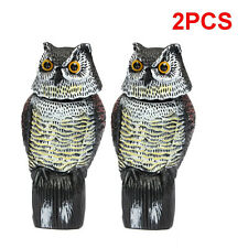2Pcs Realistic Owl Decoy With Rotating Head Bird Pigeon Crow Scarer   **