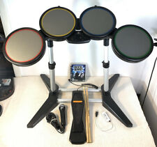 PS3 Harmonix Rockband Rock Band USB Drum Set W/ Sticks Game Mic Hub Tested