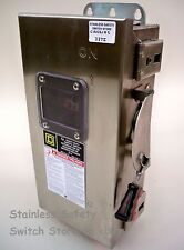 Square D Stainless CHU361DS 30a 600v 3ph Non-Fused Safety Switch Refurbished
