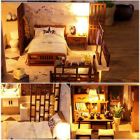 1:24 DIY Wooden Dollhouse Miniature Furniture Kit LED Kids Birthday Xmas Gifts