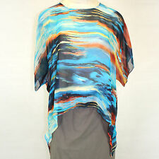 NEW Aqua Cocoon House Key Largo Art to Wear 100% Silk Pointed Blouse Large / XL