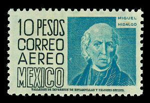 MEXICO 1952 AIRMAIL - Hidalgo 10pesos blue  Scott # C197  mint VF lightly hinged