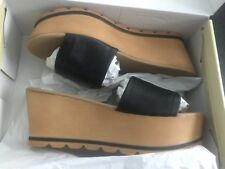 Next Ladies Black Leather Wedges Size 6.5 New In Box
