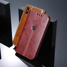 Für iPhone X 6 7 8 Plus Tasche Schutz Handy Hülle Etui Echt Leder Flip Book Case