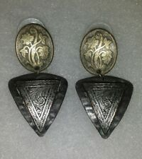 Vintage earrings handmade art metal jewelry beautiful engraved design pierced