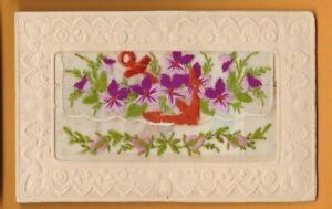 WW1 Embroidered silk postcard with card insert. Anchor and flowers.