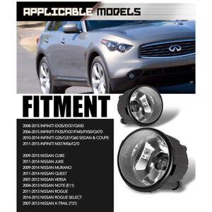 2Pcs Front Grills Bumper Driving Halogen Lamp Fog Lights For Infiniti FX35 QX70