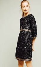 RARE! NEW Anthropologie Varun Bahl GARLAN dress BLACK SEQUINS embroidered MEDIUM