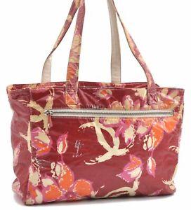 Auth CHANEL CC Logo Camellia High Summer Flower PVC Shoulder Tote Bag Red D0839