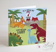 PERSONALISED DINOSAUR Birthday Card -  Boys Childs Son Grandson 2 3 4 5 6 7 8