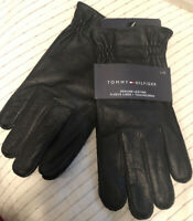 Tommy Hilfiger Mens Genuine Leather Fleece Lined Gloves Touch Screen Black Large