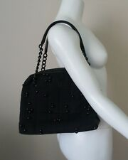 Auth CHANEL 01A CC Logo Chocolate Bar Black Fabric Hand Bag Leather Chain Straps
