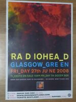 Radiohead live music memorabilia Glasgow Green june 2008 tour concert gig poster