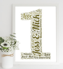 First Wedding Anniversary Gift - Paper Anniversary Gift - Personalised print